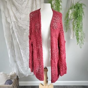 BAND OF GYPSIES | Maroon Wine Chunky Knit Cardigan